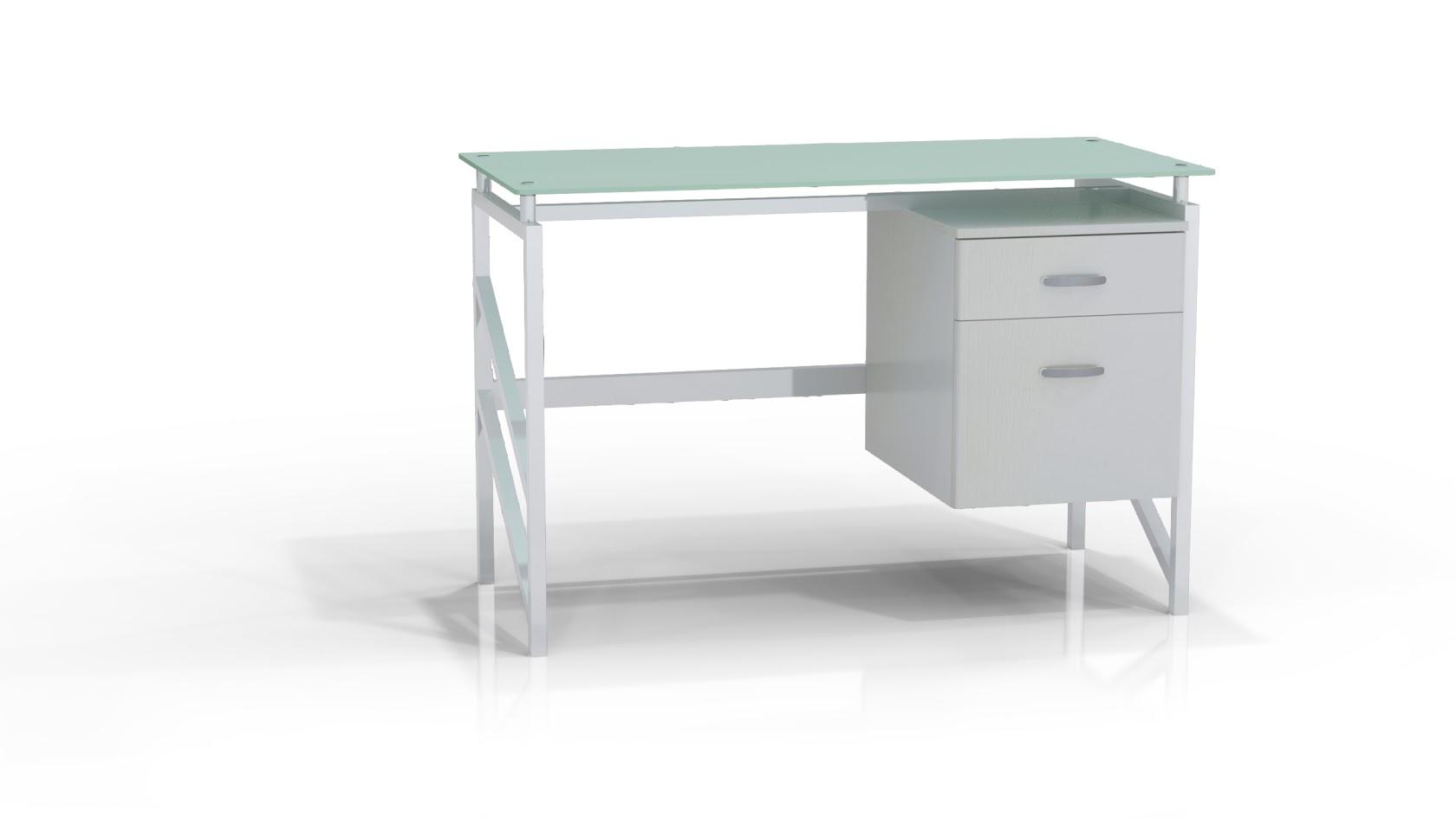 Mayline 46 Wide SOHO Glass Top Desk With BoxFile