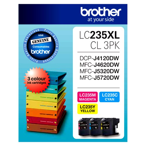 Brother LC-235XL Tri Colour Ink Cartridges Value Pack