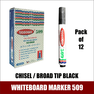 WHITEBOARD MARKER 509 CHISEL BROAD TIP BLACK MADE IN MALAYSIA