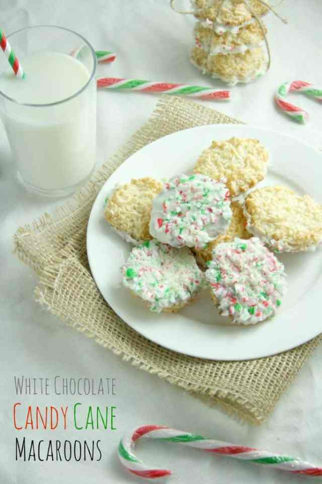 White Chocolate Candy Cane Macaroons