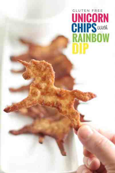 Unicorn Chips with Rainbow Dip