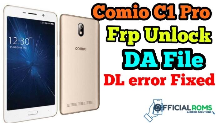 Comio C1 Pro Frp Unlock Using Sp Tool (DA File)