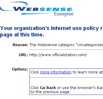 Blocked by Websense