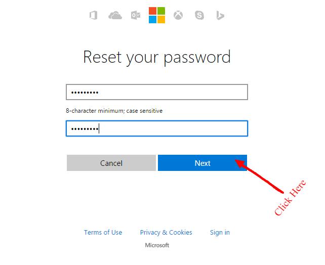 reset your hotmail password