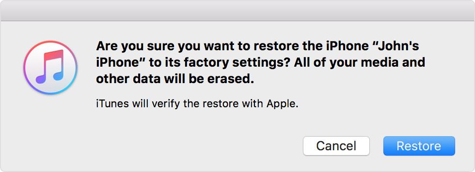 click restore to confirm