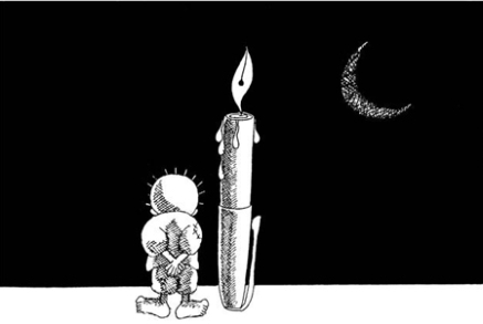 Disegno di un bimbo palestinese e di una penna che lacrima di notte in attesa di quella pace di Vauro