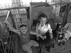 Hattie and her friend, Livvy, in Hattie's goat pen at the Canyon County Fair, 2014.