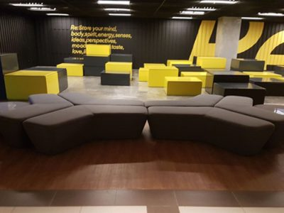OUE Downtown - Modular sofa and customised fabric coffee table with acrylic top