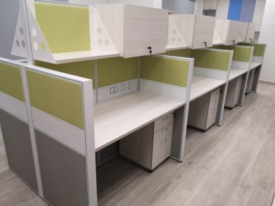 Summus Contracts (Jurong West) - T40 Workstations with Hanging Shelves and Cabinets