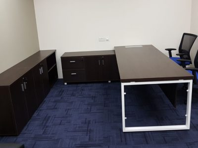 Verint - Executive Desk with BO Series Table Legs and Customised Cabinet
