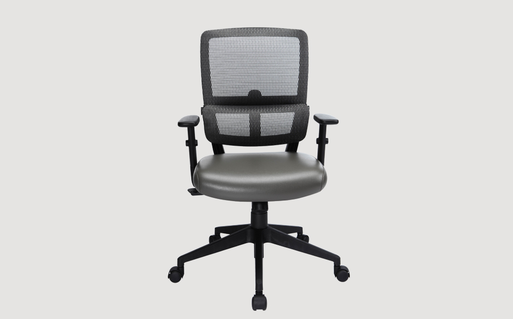 ergonomic mid back office chair black frame grey seat mesh back castor wheels