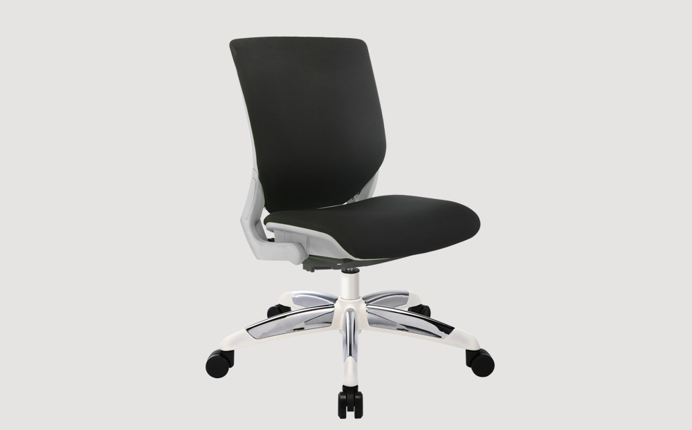 ergonomic mid back office chair grey frame black seat chrome castor wheels