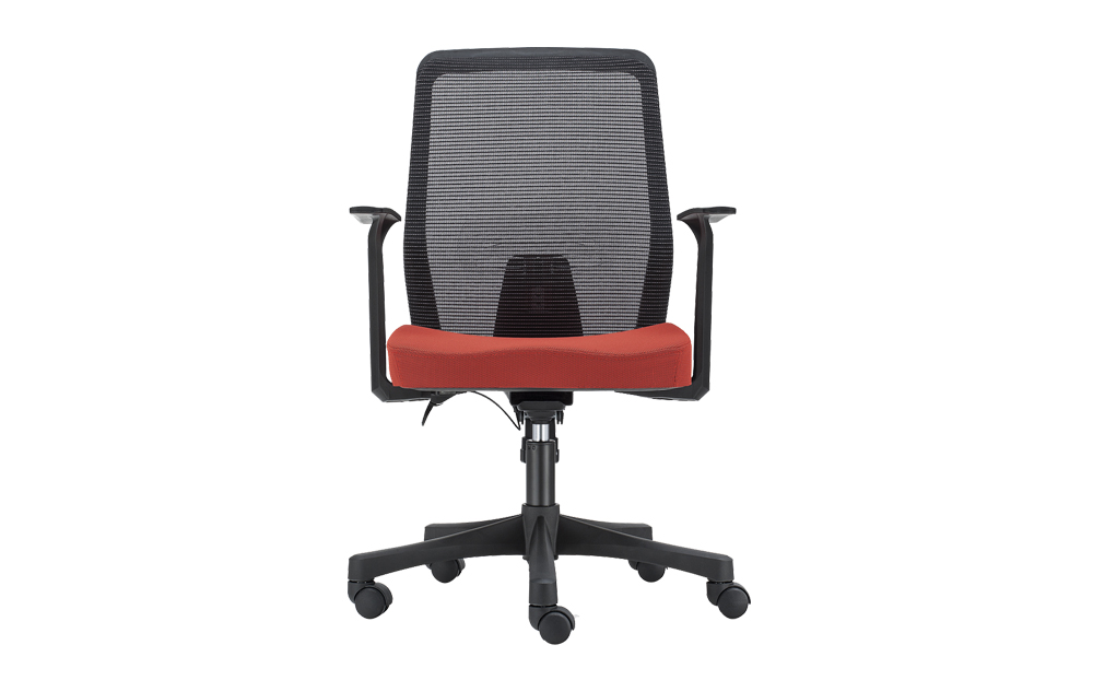 ergonomic mid back office chair mesh back lumbar support black frame red seat
