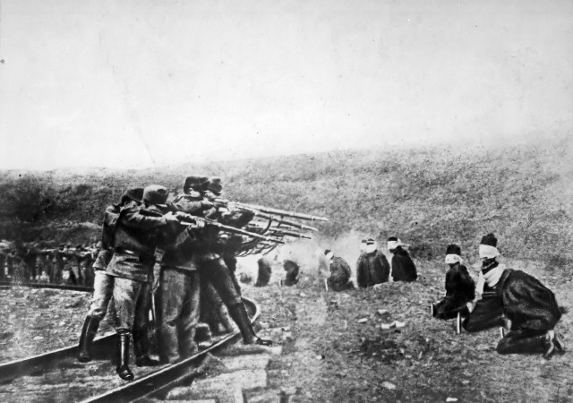 Austro-Hungarian troops executing captured Serbians, 1917. Serbia lost about 850,000 people during World War I, a quarter of its pre-war population.