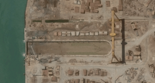 The latest satellite imagery acquired by DigitalGlobe shows an empty dry dock at Iran's Sadra Island shipyard located in Bushehr.