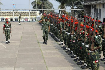 The FARDC military police prepare for the opening ceremonies of MEDFLAG 10, Sept. 6, 2010 in Kinshasa, Democratic Republic of Congo. MEDFLAG 10 is a joint training exercise between U.S. and Congolese militaries preparing for medical and civic assistance and mass casualty training.