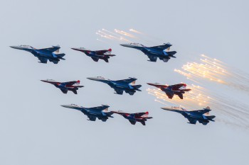 Sukhoi fighters above Moscow during the Victory Day parade on May 9, 2014. Russian Ministry of Defense photo.