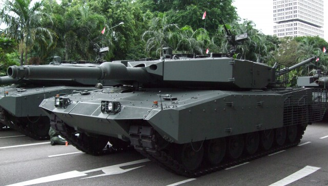 Singapore Army Leopard 2SG upgraded with AMAP composite armour and towards the rear with slat armour by IBD & ST Kinetics