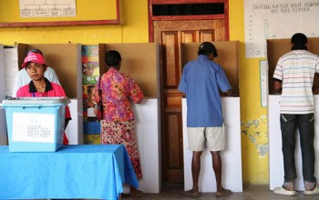 Voters cast their ballot in during East Timor's 2012 Parliamentary Elections (Photo: Sandra Magno, UNDP TL).