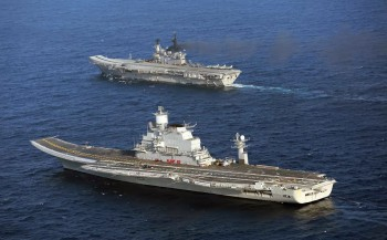 Indian Navy show its two carriers Viramaditya (foreground) and Viraat.