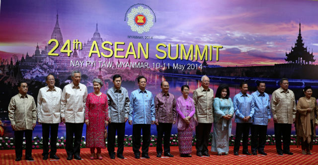 "Leaders of ASEAN pose for a group photo during the Welcome Dinner on May 10, 2014. In a joint statement , ASEAN foreign ministers expressed ""serious concerns over the on-going developments"" in the sea disputes with China."
