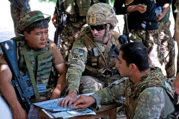 US Army adviser and Afghan troops