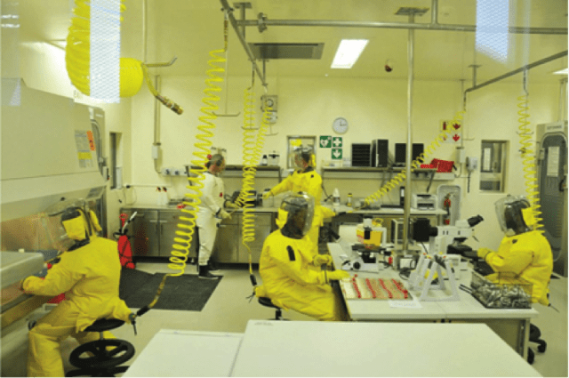 Scientists from the Southern African Development Community region, including a sponsored postdoctoral research fellow by the Southern African Centre for Infectious Disease Surveillance, working in the only biosafety level 4 (BSL-4) laboratory in Africa, which is located at the National Institute for Communicable Diseases, Johannesburg, South Africa.