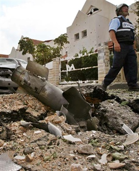 A fired Katyusha rocket which struck Israeli territory