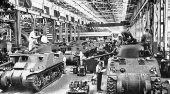 Workers on the assembly line at the Chrysler tank arsenal in Detroit during World War II (click on the photo for more images).