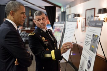 West Point Superintendent Lt. Gen. Robert L. Caslen briefs President Barack Obama prior to the United States Military Academy at West Point commencement (Photo: Pete Souza).