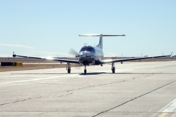 Contractors would likely fly an aircraft like the Pilatus PC-12 seen here on missions from Niamey (Photo: Air Force).