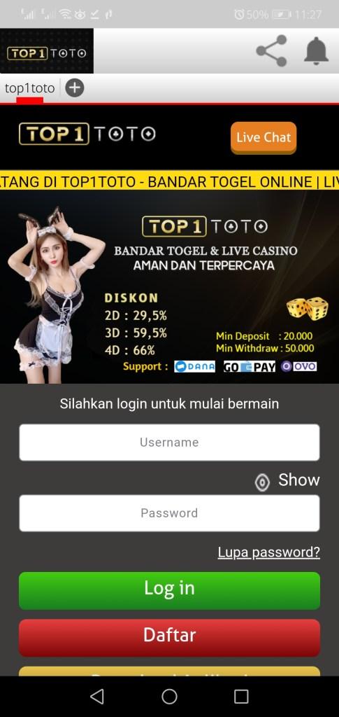 Screenshot of Top1toto App Apk