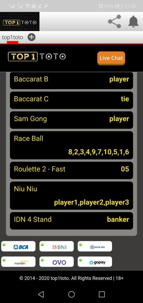 Screenshot of Top1toto App