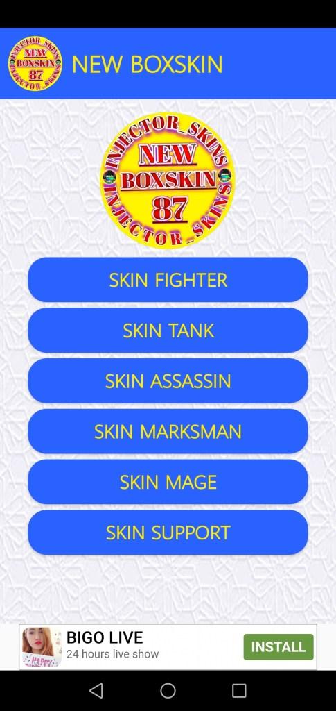 Screenshot of New Box Skin App