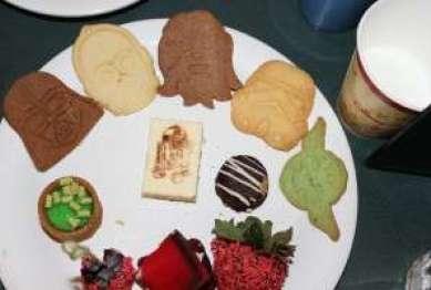 Darth Vader, C-3PO, Chewbacca, StormTrooper & Yoda Cookies.  Boba's Brownie, Key Lime Tart & No Sugar Added Cheesecake