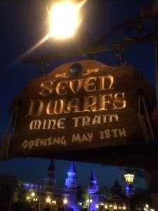 Sign for Seven Dwarfs Mine Train