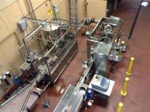 A view of the bottling equipment from the catwalk.