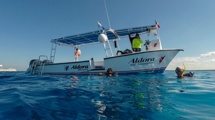 One of the dive boats from Aldora dive shop in Cozumel