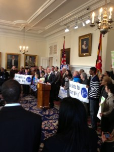Governor O'Malley meets the press surrounded by supporters including members of BizMDOSW
