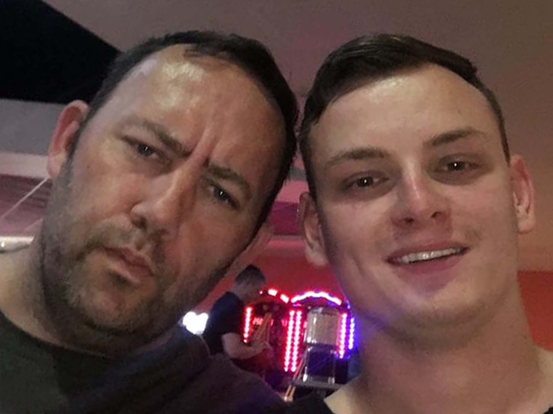 Phil and Bradley selfie heaven at Ten Pin Bowling