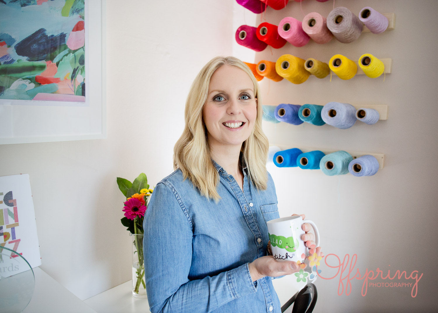 Sally Wilson from Caterpillar Cross Stitch relaxes in her studio