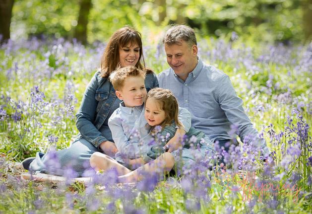 family in bluebells
