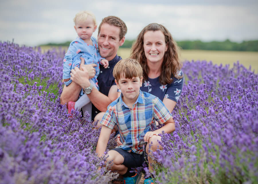 Family photo in the Cotswold Lavender