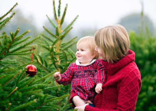 Baby at Christmas Tree farm