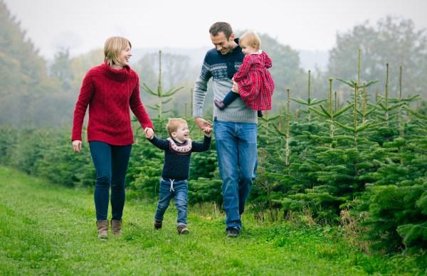 family at Warwickshire Christmas Tree Farm