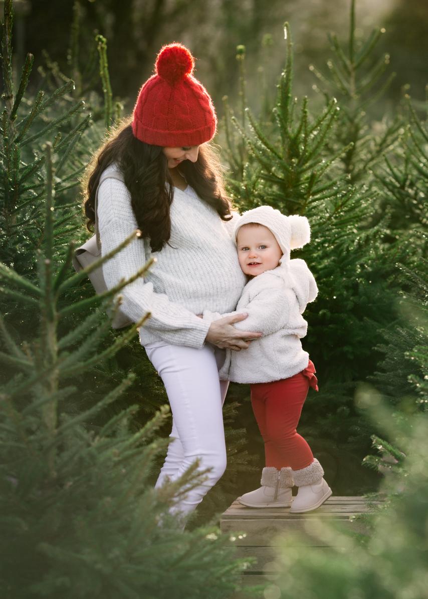 Christmas Tree farm maternity photoshoot at Warwickshire Christmas Trees