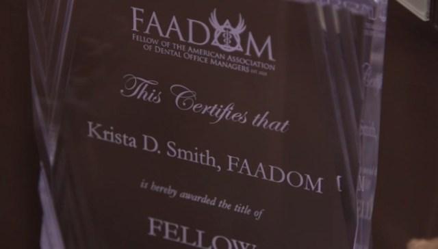 Krista Smith aadom plaque