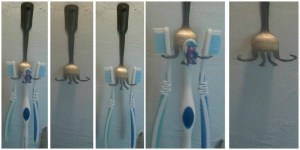 eclectic bent fork toothbrush holder