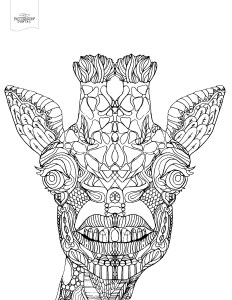 Toothy giraffe coloring page from Patterson Dental