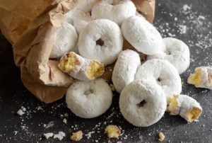 Bag of mini powdered donuts